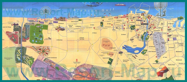 Достопримечательности Дубая на карте на русском языке